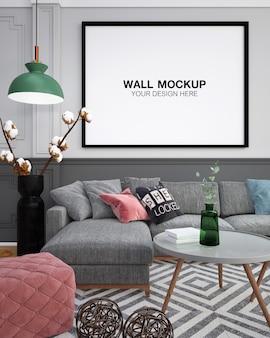 Wnętrze salonu szara sofa