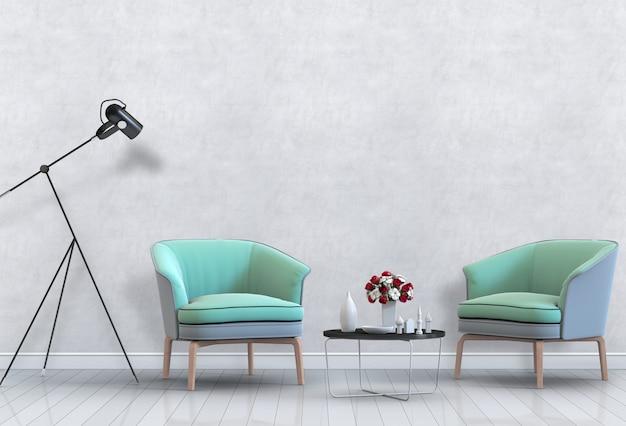 Wnętrze salonu w nowoczesnym stylu z fotelem i dekoracjami.
