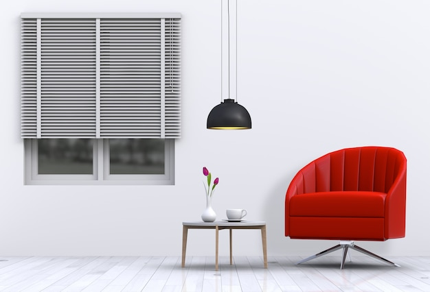 Wnętrze salonu w nowoczesnym stylu z fotelem