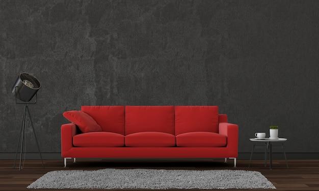 Wnętrze salonu w nowoczesnym stylu z sofą i dekoracjami