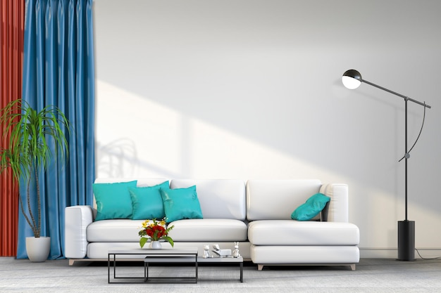 Wnętrze salonu w nowoczesnym stylu z sofą i dekoracjami.