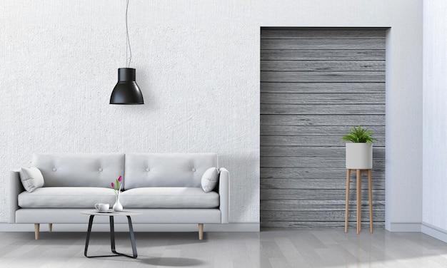 Wnętrze salonu w nowoczesnym stylu z sofą w renderowaniu 3d