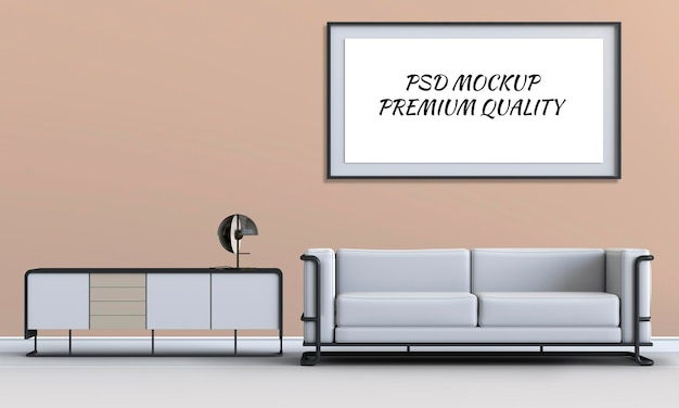 Wnętrze salonu z sofą w renderowaniu 3d