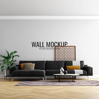 Wnętrze ściany pokoju dziennego makieta z meblami i dekoracji