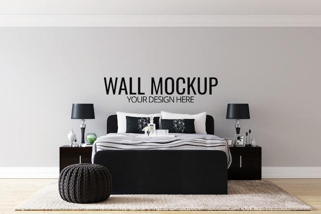 Wnętrze sypialni ściany tło makiety