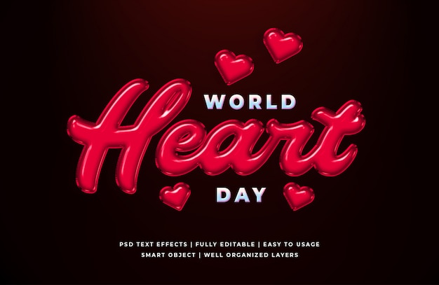 Word heart day 3d text style effect template