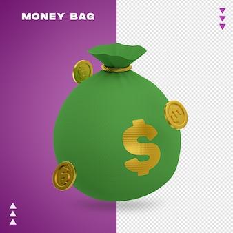 Worek pieniędzy w renderowaniu 3d na białym tle