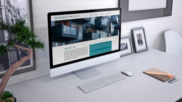 Workspace makieta z komputerem