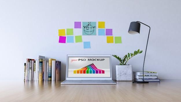 Workspace makieta z laptopem i karteczkami samoprzylepnymi