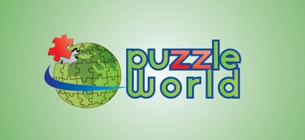 World globe puzzle vector logo