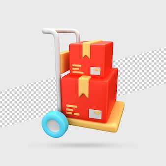 Wózek dostawczy z paczkami render 3d