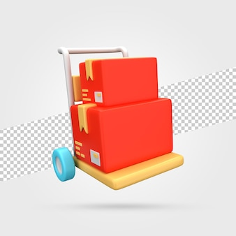 Wózek Dostawczy Z Paczkami Render 3d Premium Psd