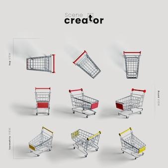 Wózek na zakupy z kółkami pod różnymi kątami do ilustracji twórców scen