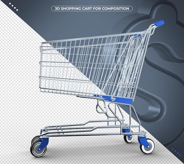 Wózek z supermarketu niebieski na białym tle
