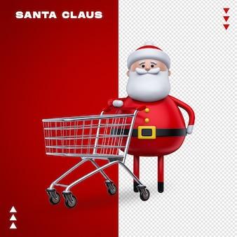 Wózek z supermarketu świętego mikołaja w renderowaniu 3d