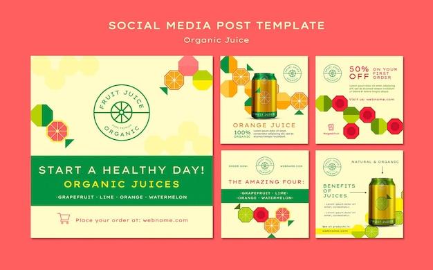 Wpis w mediach społecznościowych z sokiem organicznym