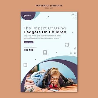 Wpływ gadżetu na styl szablonu plakatu dla dzieci