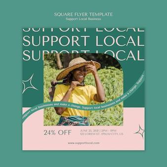 Wsparcie dla lokalnych firm w ulotce do kwadratu