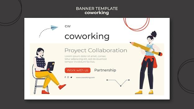 Współpracujący szablon banera poziomego