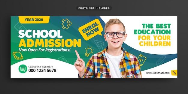 Wstęp do edukacji szkolnej facebook oś czasu pokrywa i banner internetowy