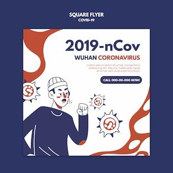 Wuhan koronawirus kwadratowa ulotka
