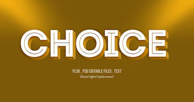 Wybór efektu stylu tekstu 3d