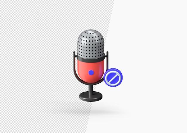 Wyciszenie Mikrofonu Renderowania 3d Na Białym Tle Premium Psd