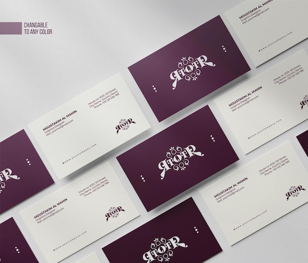 Wyczyść minimalną makietę wizytówki z edytowalnymi kolorami