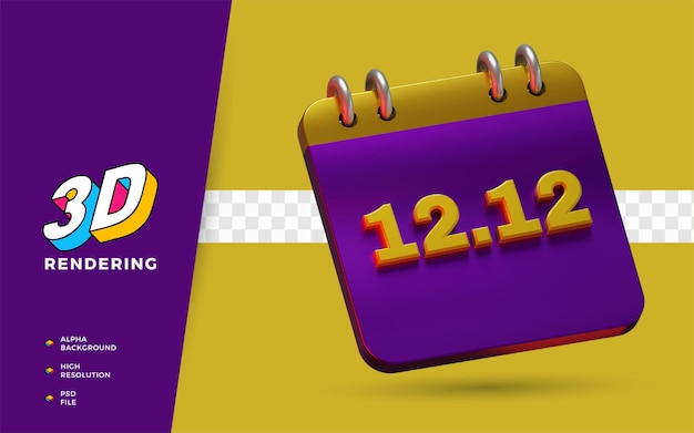 Wydarzenie 12.12 dzień zniżek na zakupy flash wyprzedaż e commerce 3d render obiektu
