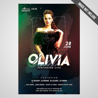 Wydrukuj gotowy cmyk artist event flyer / poster z edytowalnymi obiektami