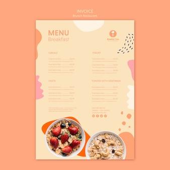Wygląd menu dla zdrowego brunchu