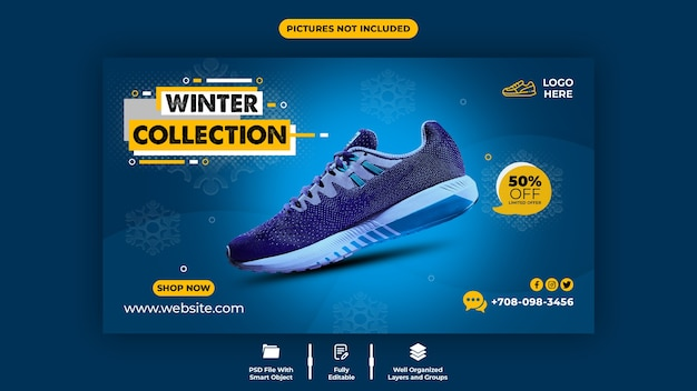 Wygodne buty sprzedaż szablon banera internetowego
