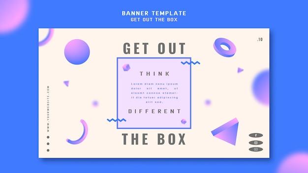 Wyjdź z szablonu banera koncepcji pudełka