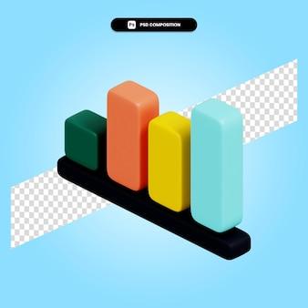 Wykres statystyczny 3d render ilustracja na białym tle