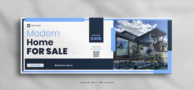 Wymarzony dom na sprzedaż szablon okładki na facebooku z makietą
