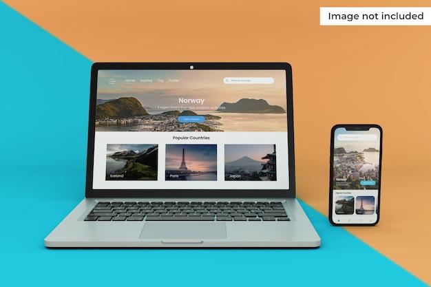 Wymienna makieta ekranu urządzenia mobilnego i laptopa