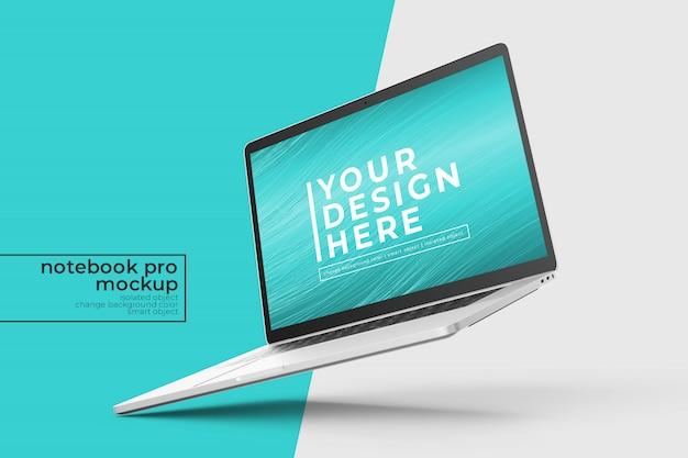 Wymienna premium łatwa do edycji 15-calowe makiety laptopa w lewej pochylonej pozycji w prawym widoku