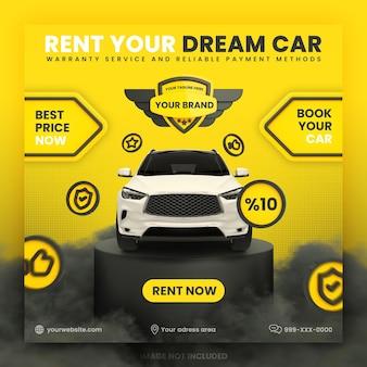 Wynajem samochodów social media instagram post banner szablon premium psd