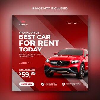 Wynajem samochodów sprzedaż promocji social media post instagram w czerwonym abstrakcyjnym kształcie szablonu tła