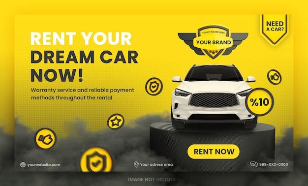 Wynajem samochodu szablon banera internetowego premium psd