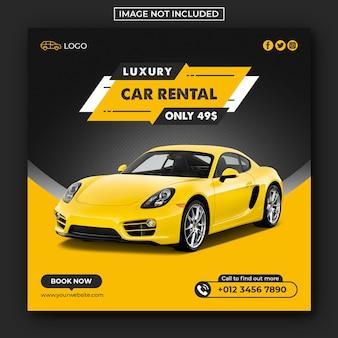Wynajem samochodu w mediach społecznościowych i banerach internetowych