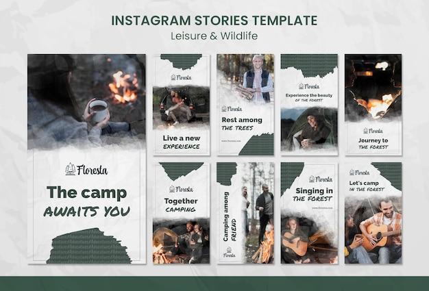 Wypoczynek w szablonie opowiadań na instagramie w lesie