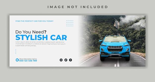 Wypożycz samochód szablon banera w mediach społecznościowych