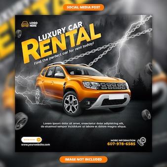 Wypożyczalnia samochodów luksusowych sprzedaż banerów społecznościowych i szablon postu na instagram