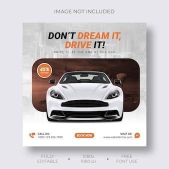 Wypożyczalnia samochodów promocyjny post w mediach społecznościowych i szablon banera na instagram