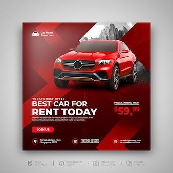 Wypożyczalnia samochodów sprzedaje promocja w mediach społecznościowych post na instagramie w szablonie na czerwonym tle