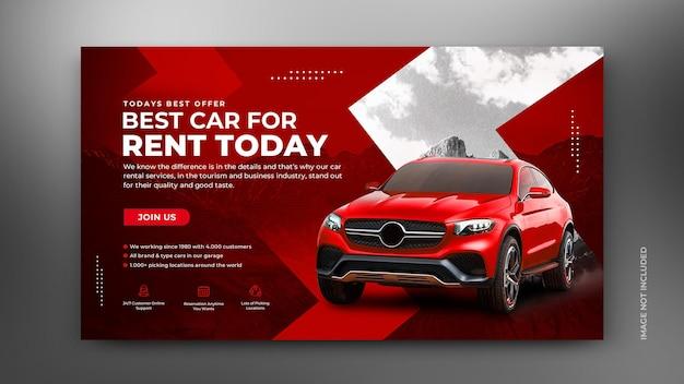 Wypożyczalnia samochodów sprzedaż promocja w mediach społecznościowych post szablon transparentu internetowego w tle