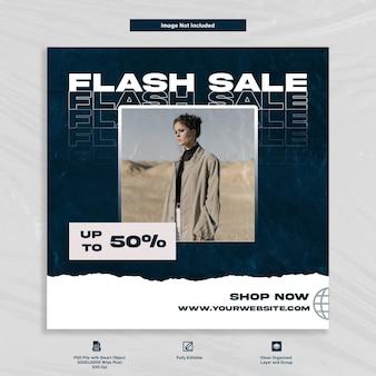 Wyprzedaż flash rabat sklep z modą post na instagramie szablon premium w mediach społecznościowych