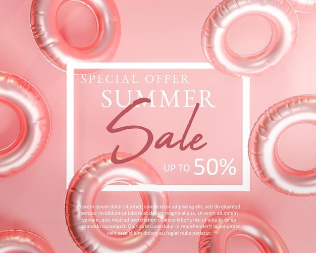 Wyprzedaż letni różowy szablon transparentu, nadmuchiwane koło do pływania