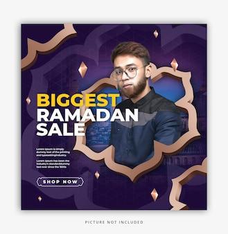 Wyprzedaż ramadan, szablon postu w mediach społecznościowych